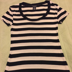 Rue 21 Striped Black White Tee